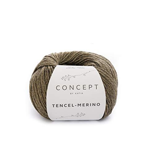Katia Tencel Merino Fb. 100 - Amarillo/Negro, 50g Lyocell Wolle mit Merinowolle zum Sricken und Häkeln