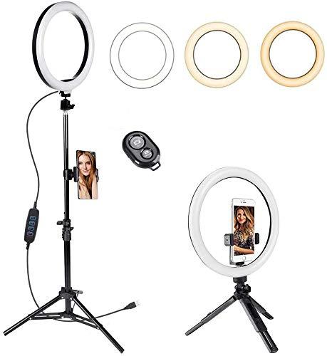 GIM Ringlicht Ringleuchte 10 Zoll mit Stativ Handy Halter, 3 Lichtfarben und 11 Helligkeitsstufen Bluetooth-Fernbedienung Beleuchtung Set für Make-up, Live-Stream