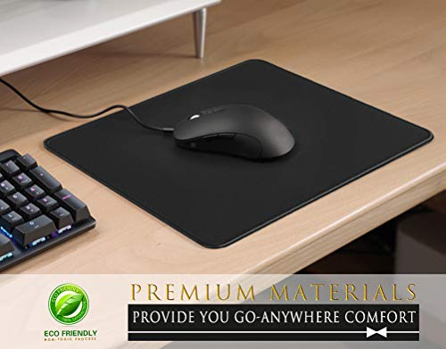 MROCO Mouse Pad [30% Larger] with Non-Slip Rubber Base, Premium-Textured & Waterproof Computer Mousepad with Stitched Edges, Mouse Pads for Computers, Laptop, Gaming, Office & Home, 8.5 x 11 in, Black Photo #2