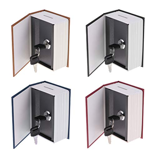 F Fityle 4pcs Oculto Libro de Libro Seguro Ocultar Escondite Secreto con Caja de Dinero de Metal Clave