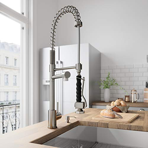 """Vigo vg02007stk2 27"""" h zurich single-handle with pull-down sprayer kitchen faucet with soap dispenser in stainless steel"""