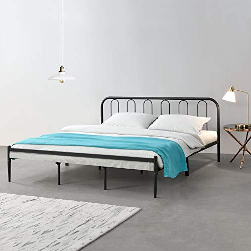[en.casa] Metallbett 180 x 200cm Schwarz Stahlrahmen Doppelbett Ehebett Bettgestell