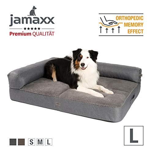 JAMAXX Premium 2-in-1 Hunde-Sofa - Orthopädisch Memory Visco, Abnehmbare Polster, Abnehmbarer Bezug Waschbar, Weiches Fleece oder Lammfell/Sherpa, PDB3014 (L) 120x90 grau+grau Fleece