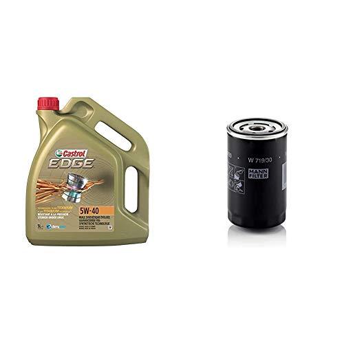 Castrol Edge 5W-40 Motorenöl 5L + Mann Filter Ölfilter W 719/30 - Für PKW und Nutzfahrzeuge