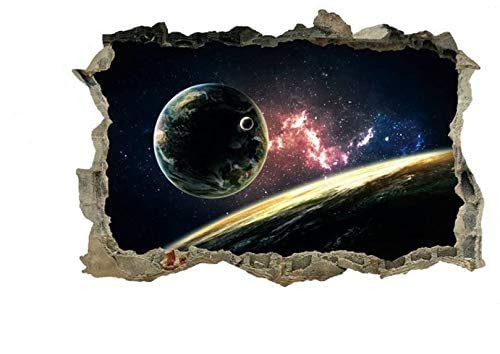 DNVEN 23 inches x 15 inches Galaxy Planets Space Porthole Window Milky Way Galaxy 3d Window View Wall Arts Decals Decors Removable Stickers Galaxy