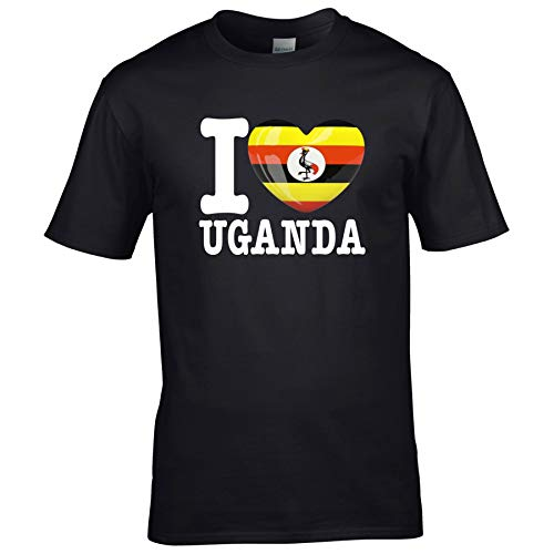 FanShirts4u Kinder T-Shirt - I Love Uganda - WM Trikot Liebe Herz Heart (7/8 Jahre 122-128 cm, I Love Uganda - Schwarz)