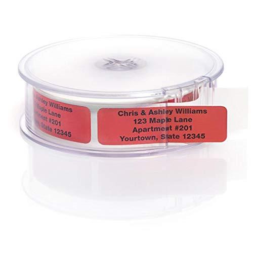 Red Foil Rolled Address Labels with Elegant Plastic Dispenser