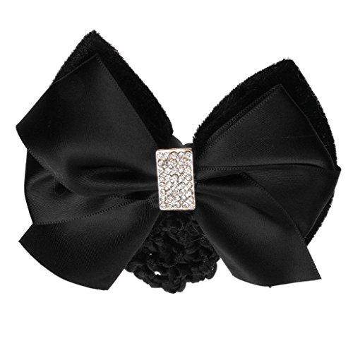 Hellery Haute Qualité Femmes Lady Crystal Décor Bow Clip De Cheveux Couverture Bowknot Bun Snood Net - Noir