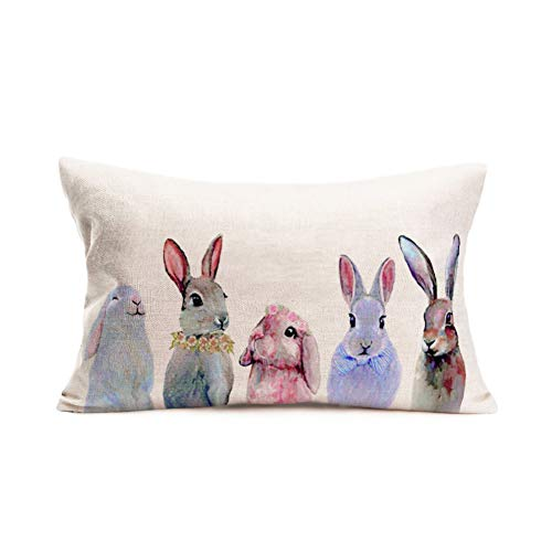 Easternproject Lovely Rabbit Throw Pillow Case Colorful Bunny with Flower Wreath Spring Animals Decorative Pillow Cover Cotton Linen 12x20 Inches Oblong Cushion Cover Pillow Easter Gifts