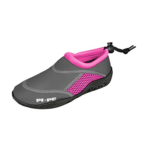 PI-PE Active Badeschuhe Kinder Jungen und Mädchen Aquashoes Schwimmschuhe (Grey/Pink, 26)