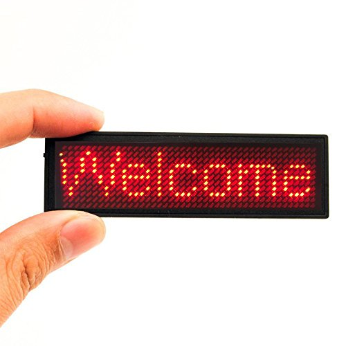 Red LED Name Tag, 44x11 Pixels Rechargeable LED Business Card Screen with USB Programming Digital Sign Display for Restaurant Shop Exhibition Nightclub Hotel