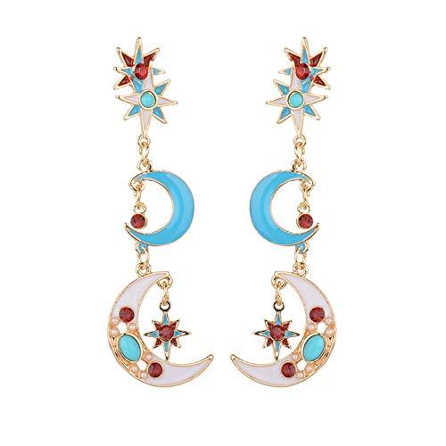 Pendientes de gota de cristal con esmalte de sol y luna, diseño de borla bohemia, pendientes de moda retro para mujeres y niñas