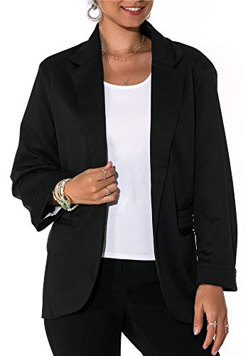 Imbry Boyfriend Blazers for Women Cool and Fashionable Casual Suit Coat Jacket (XXL, Black)