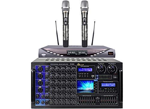 Karaoke Combo IDOLmain IP-6500 6000W Professional Mixing Amplifier with Optical Input Built-in & UHF-X1D Dragon Engraved Heavy Iron Shell Built Dual Channel Wireless Microphones Home Karaoke Bundle