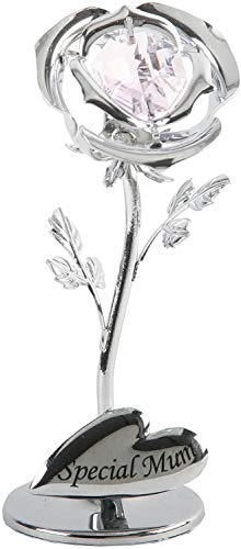 Crystocraft Celebration Rose Ornament - Special Mum Flower - with Swarovski Crystal