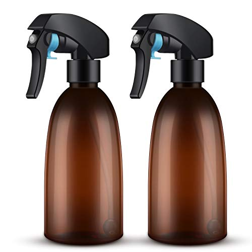 2Packs Empty Amber Spray Bottle, 10oz/300ml 360°All-angle Spraying Refillable Water Mist Sprayer, Plastic Spray Bottle for Cleaning Solution, Hair Spray, House Plant, Ironing