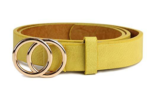 irisaa Schmaler Damen Gürtel mit runder Metallschnalle zwei Ringen, Hüftgürtel Taillengürtel mit Ringschnalle, ca. 3 CM breit, Länge:85, Farbe:Gelb new mit Goldring