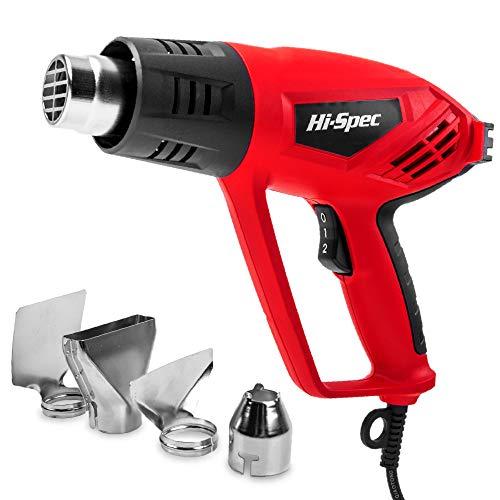 Hi-Spec 2000W Dual Hoch-/Niedrigtemperatur Heißluftpistole & 4-teiliges Düsen-Set (Reflektordüse, Spitzdüse, Fischschwanz-Düse, Glasschutzdüse)