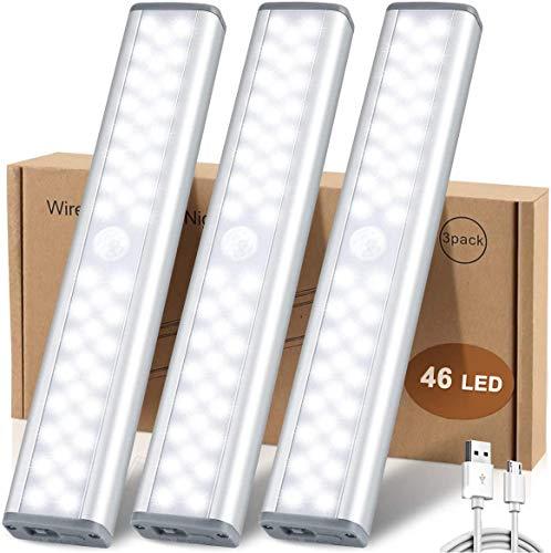46 LED Schrankbeleuchtung mit Bewegungsmelder,USB Wireless Sensor Licht,3 Helligkeitsstufen Intelligente Nachtlicht Schranklicht mit Magnetstreifen für Küche Kleiderschrank Kofferraum Treppe(3 Stück)