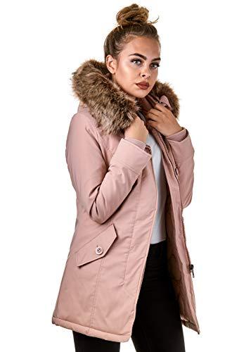 Burocs Damen Jacke Parka Winterjacke Kunstfellkapuze Schwarz Khaki BR1828-05, Größe:L, Farbe:Stone Pink