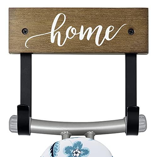TJ.MOREE Soporte de pared para tabla de planchar – Soporte de tabla de planchar para lavandería, almacenamiento de madera de roble para decoración del hogar, 2 ganchos