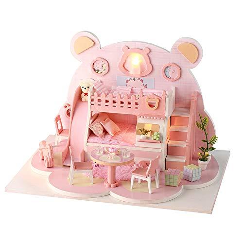 Cryfokt Casa de muñecas en Miniatura con Muebles, Kit de casa de muñecas de Bricolaje con Luces LED Muebles Escala 1:24 Habitación Creativa Mini casa de muñecas Regalos para Adultos y Adolescentes