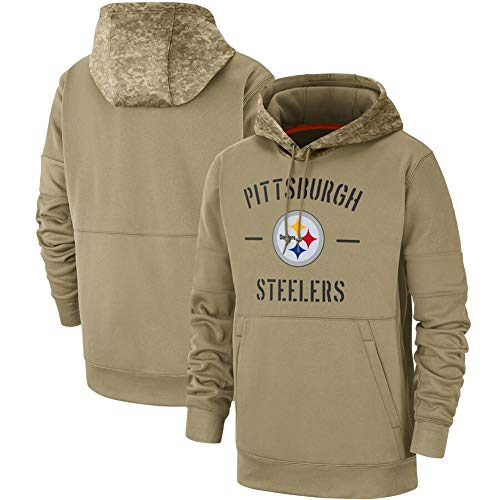 NIDAYE Steelers PulloverHoodies Männer American Football Jersey, Männer Kapuzenpullover Jersey Komfortabel mit Langen Ärmeln Warm Mit Draw Fans Pullover Khaki-M