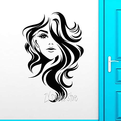 Sexy Girls Vinyl Wandtattoo Schönheit Lange Friseursalon Mädchen Gesicht Frisur Wandaufkleber Für Fenster Barbershop Zeichen Dekoration 42X62CM