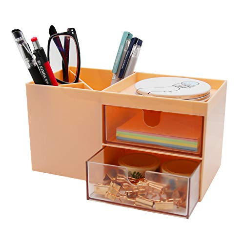 Citmage Desk Organizer Caddy with 5 Compartments Office Workspace Desktop Holder Plastic Stationery Storage Box for Pencils,Markers,Erasers,Pens (Pink)