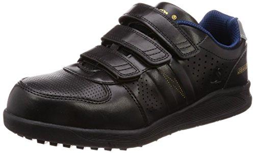 [シモン] プロスニーカー JSAA規格 耐滑 軽快 静電 短靴 スニーカー マジック 反射 NS618黒静電 黒 23 cm 3E