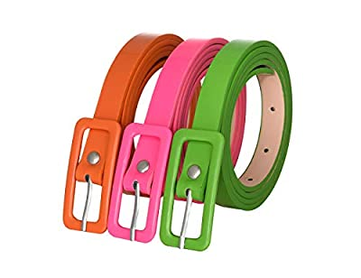 "Belts for Girls 3 Pack Fashion Girls Neon Belt Waist Skinny Belt for Dress Jeans Pants Green Orange Pink Belt 39.4"" S"