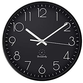 DreamSky 12-Inch Large Wall Clock Non-Ticking Silent Decorative Indoor Kitchen Living Room Round Retro Clock AA Battery Operated Clocks.