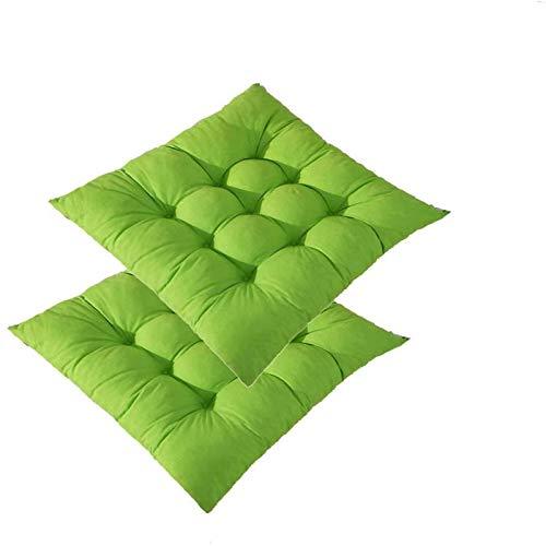 MGE Almohadillas De Silla, Cojín De Silla Engrosada, Pastillas De Silla De Interior/Exterior, Cojín De Patio con Corbatas Cojines De Asiento Al Aire Libre Cojines De Asien(Size: Set of 2,Color:Verde)