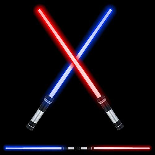 FEROXO LED Light Saber Glow Sword - 2-in-1 FX Double Bladed Dual Sabers with Sound and 4 Color Light Sword for Kids