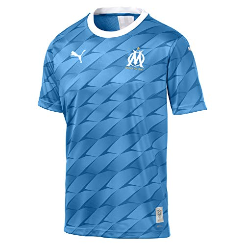 Puma Om Away Replica SS with Sponsor Maillot Homme Bleu Azur/Puma White FR : XL (Taille Fabricant : XL)