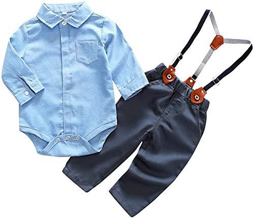 Crystallly Baby Jungen Bekleidung Set Festliche Hemd Baumwolle Kleidung Hose Hosentrager Einfacher Stil Taufanzug Gentleman Anzug Fliege Kinderbekleidung (Color : Blau+Schwarz, One Size : 95cm)