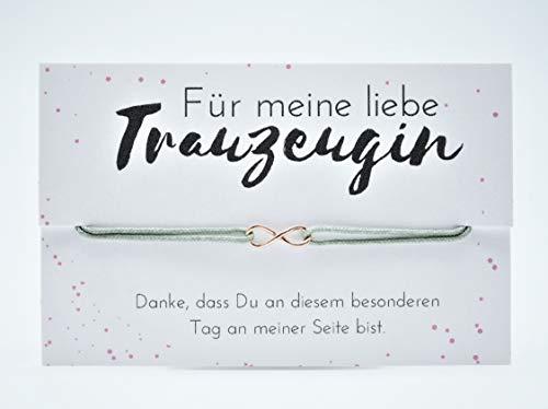 """EDELSCHNITTE Armband\""""Trauzeugin\"""" Eternity 925er Silber/Rosé vergoldet/Grau/Unendlichkeit / / Hochzeit/Geschenk"""