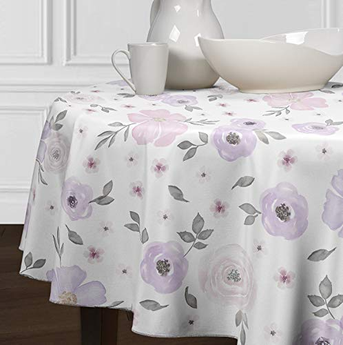 A LuxeHome Lavender Purple Pink Grey and White Shabby Chic Watercolor Rose Flower Floral Overlay Cover Table top Tablecloths for Dining Room Kitchen Round 90'