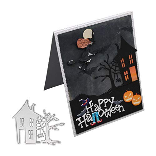 Seaskyer 3 Sheets Different Halloween Theme Cutting Dies Stencil DIY Scrapbooking Embossing Paper Card Home Decor,Coffin Haunted House Theme 132x113mm/5.20x4.45in (Haunted House)