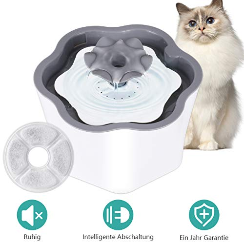 COSYLIFE Katzen Trinkbrunnen mit Filter, 2L Katzenbrunnen Intelligente Abschaltung Automatische Haustier Blumentrinkbrunnen mit Abnehmbare Waschbare Pumpe Wasserbrunnen Wasserspender für Katzen Hunde