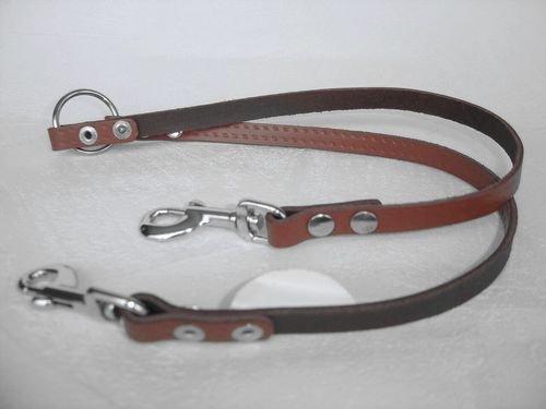 Lusy011 HUNDELEINE, Koppelleine, Leine, KOPPEL Leine, für 2 Hunde, Verbindungsleine 40cm/12 mm, Leder+BRAUN (PL.26-8-1-97)
