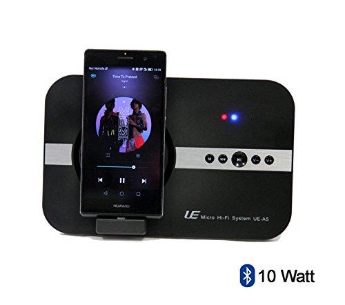 Sistema Hi-Fi micro da 10Watt per Huawei Ascend P7 P8P8Lite. Per Musica Video Youtube Skype immagini e Telefonia, Con Micro USB e Bluetooth e telecomando–altoparlante e docking station–nero