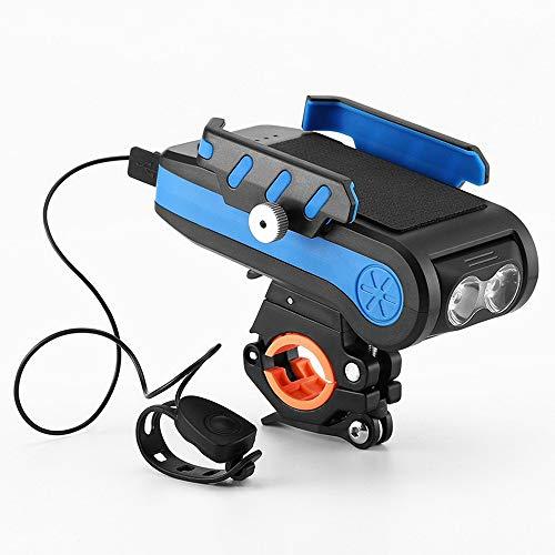 USB Wiederaufladbares Fahrrad-Frontlicht-Set, Fahrradscheinwerfer, 4-in-1 LED, wasserdicht, hell, mit Fahrradhupe, Handyhalterung und Powerbank, einfache Installation für Motorräder und Fahrräder