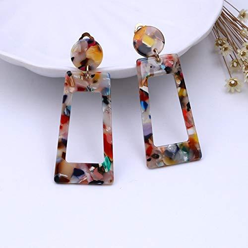 SALAN Clip De Color De La Tortuga De Moda En Los Pendientes De Leopardo Acrílico Largo Geométrico Círculo Cuadrado Sin Piercing Clips para Mujeres