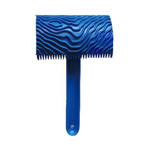 MagiDeal Holzmaserung Muster Gummi Malwerkzeug Mit Griff Wanddekor Blau # 05