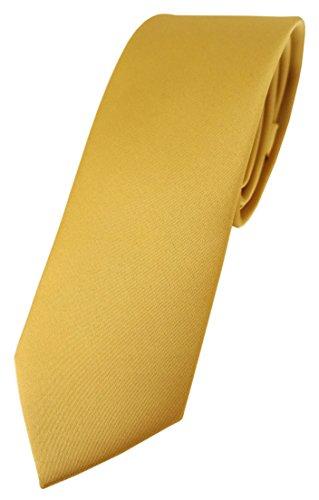 TigerTie schmale Designer Krawatte in gold einfarbig Uni - Tie Schlips