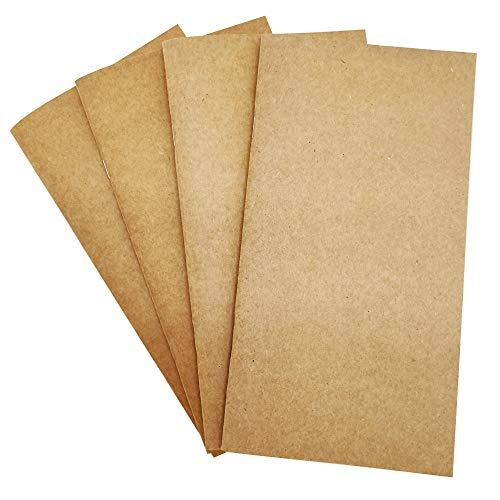 GRT Travel Journal Set mit 4 Notebook-Journals für Reisende Kraft Braun Softcover TN-A5 Größe 100gsm 64 Seiten /32 Blatt Leder handgefertigte Notizbücher füllen Reise Blank Dots Lines Squeres