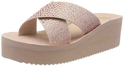 flip*flop Wedge Cross Crystal Damen Keilsandale, Pink (Dirty Rose 2002), 37 EU