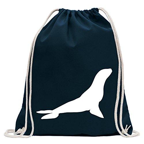 Kiwistar - Robbe - Seehund - Antarktis Turnbeutel Fun Rucksack Sport Beutel Gymsack Baumwolle mit Ziehgurt