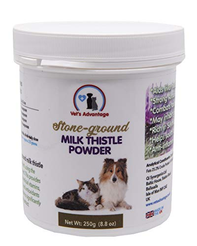 Vet's Advantage 100% Pure Stone-ground Milk Thistle Powder - for Liver Health & Detoxification for Dogs and Cats